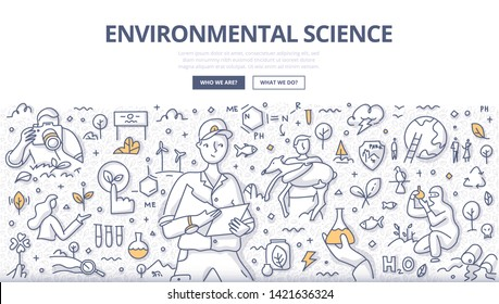 Environmental science concept. Scientist ecologist checking data against the observation log. Nature management illustration for web banners, hero images, printed materials