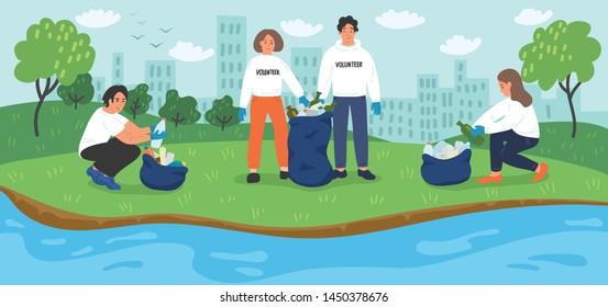 Environmental volunteer activists cleaning riverbank.
