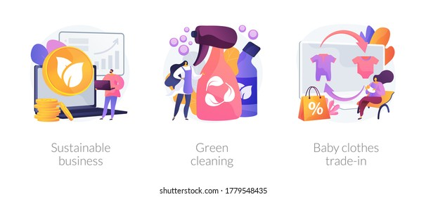Environmentally friendly business abstract concept vector illustration set. Sustainable business, green cleaning, baby clothes trade-in, second hand, eco service, save ecosystem abstract metaphor.