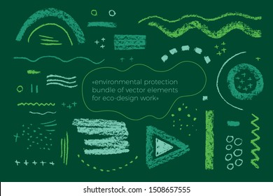 Environmentally friendly icons, environmental protection elements, beauty products, organic concept, healthy food, green brushes - modern raw textures. elements collection for eco-design work.