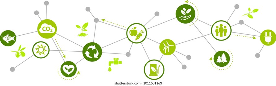 environmentally friendly technology / environmental challenges vector illustration