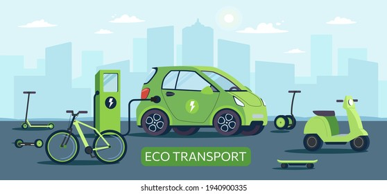Environmentally friendly transport powered by renewable energy sources. Electric car at charging station against the background of city, gyroboard, bicycle, scooter, scooter,skateboard.Vector vehicles