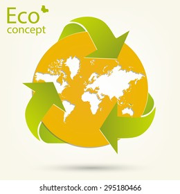 Environmentally friendly world. The concept of ecology, to save the planet. Triangular recycle symbol around the world map. Vector illustration on a white background, modern template design.