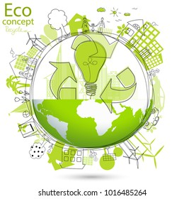 Environmentally friendly world. Illustration of ecology the concept of info graphics. Icon. Simple modern minimalistic style. Simple illustrated illustration for printing, web