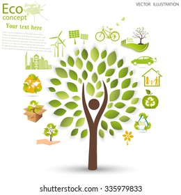 Environmentally friendly world. Vector illustration of ecology the concept of info graphics modern design. Ecological concepts. Triangular recycling symbol.