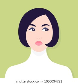Envy and hypocrisy. A woman's face. Portrait of a sad girl. Competition and conflicts. Avatar. Vector illustration