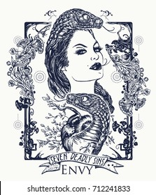 Envy. Seven deadly sins tattoo and t-shirt design. Envious woman, snake tempts heart. Symbol of malignant gossip, jealousy
