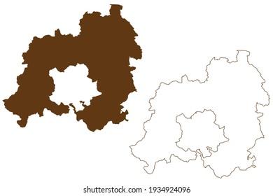 Enzkreis district (Federal Republic of Germany, rural district, Baden-Wurttemberg State) map vector illustration, scribble sketch Enzkreis map