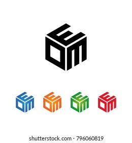 EOM,EMO,OME,OEM,MEO,MOE Logo Initial three letters Template.Modern Style. Hexagon shape concept.Black,Blue,Orange,Green,Red color on white background