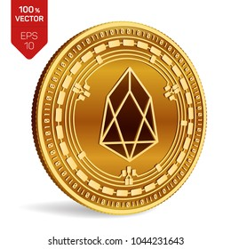 EOS. 3D isometric Physical coin. Digital currency. Cryptocurrency. Golden coin with EOS symbol isolated on white background. Vector illustration.