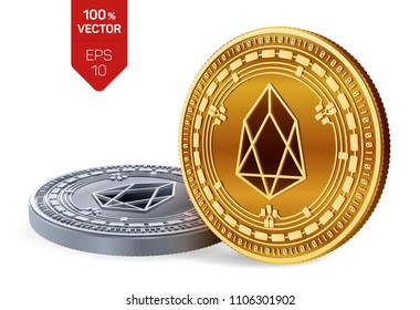 EOS. 3D isometric Physical coins. Digital currency. Cryptocurrency. Golden and silver coins with EOS symbol isolated on white background. Vector illustration.