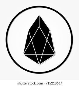 EOS coin cryptocurrency. Vector sign icon. Internet money