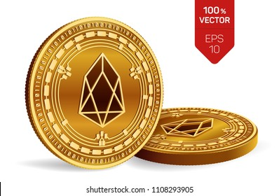 EOS. Crypto currency. 3D isometric Physical coins. Digital currency. Golden coins with EOS symbol isolated on white background. Block chain. Vector illustration.