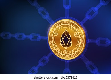 EOS. Crypto currency. Block chain. 3D isometric Physical EOS coin with wireframe chain. Blockchain concept. Editable Cryptocurrency template. Stock vector illustration.