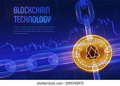 EOS. Crypto currency. Block chain. 3D isometric Physical golden EOS coin with wireframe chain on blue financial background. Blockchain concept. Editable Cryptocurrency template. Vector illustration.