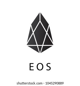 EOS crypto currency chrystal coin icon isolated on a white background.  Virtual money icon collection.Cryptocurrency in flat style.Symbol of smart technologies. Decentralized computer networks