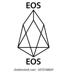 EOS cryptocurrency blockchain icon. Virtual electronic, internet money or cryptocoin symbol, logo