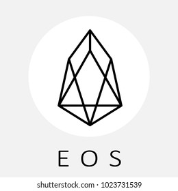 EOS decentralized blockchain applications on WebAssembly. EOS vector black white logo and icon.