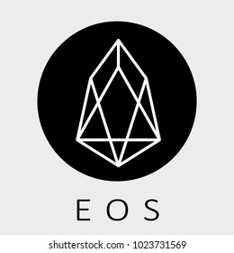 EOS decentralized blockchain applications on WebAssembly. EOS vector dark logo.