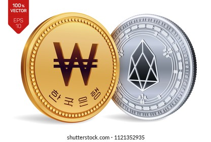 EOS. Won. 3D isometric Physical coins. Digital currency. Korea Won coin. Cryptocurrency. Golden and silver coins with EOS and Won symbol isolated on white background. Vector illustration.