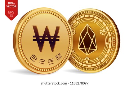 EOS. Won. 3D isometric Physical coins. Digital currency. Korea Won coin. Cryptocurrency. Golden coins with EOS and Won symbol isolated on white background. Vector illustration.