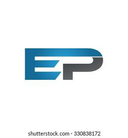 EP company linked letter logo blue