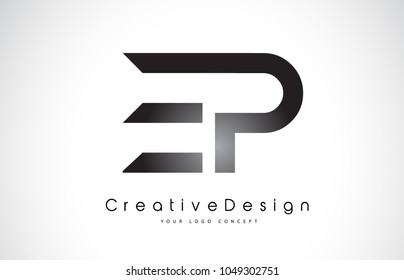 EP E P Letter Logo Design in Black Colors. Creative Modern Letters Vector Icon Logo Illustration.