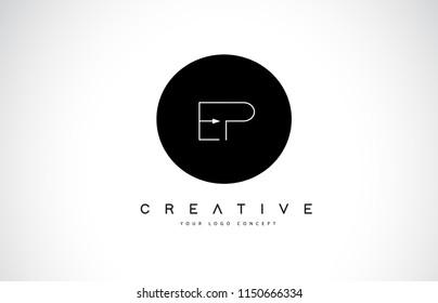 EP E P Logo Design with Black and White Creative Icon Text Letter Vector.