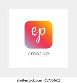 EP logo, vector. Useful as branding symbol, app icon, alphabet element, clip-art.