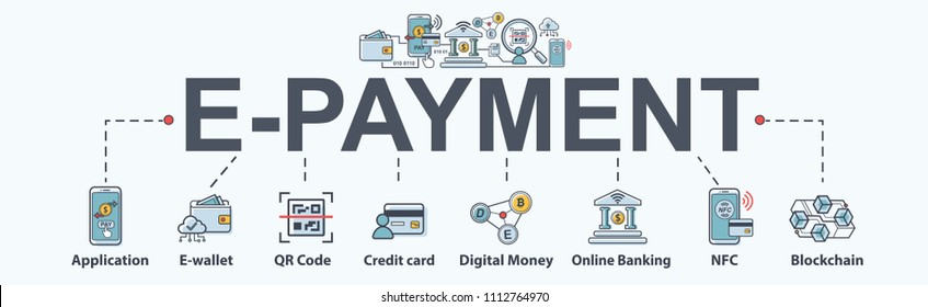 E-payment banner web icon for business, Application, E-wallet, NFC, QR code, Digital money, digital banking and block chain system payment. Minimal vector infographic.