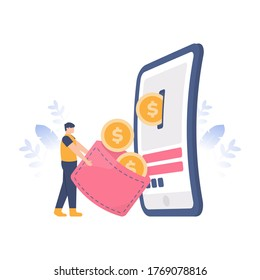 e-payment concept, loyalty program, collect points, get rewards. illustration of people getting coins coming out of a smartphone. flat design. can be used for elements, landing pages, UI, websites