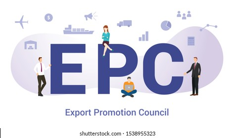 epc export promotion council concept with big word or text and team people with modern flat style - vector