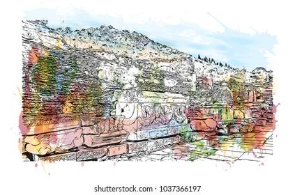 Ephesus Ancient Greek City On Coast Stock Vector Royalty Free