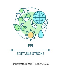 EPI concept icon. Corporate environmental responsibility, performance. Ecology idea thin line illustration. Alternative energy. Eco conservation. Vector isolated outline drawing. Editable stroke