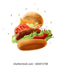 Epic Burger (isolated on white background) - vector illustration