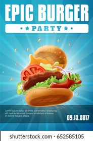 Epic Burger Party - poster / flyer template