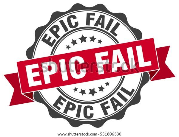 épico fracaso. sello. pegatina. sello. signo de fallo epiléptico de la cinta adhesiva circular