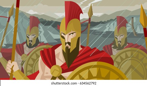 epic spartans soldiers defending pass armed with shields and spears