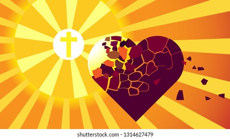 Epic vector image wich lighthous of Calvary cross, that purify heart of man from dirt of sin and evil. Dedication of soul by Jesus Christ
