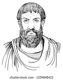 Epicurus (341-270 BC) portrait in line art. He was Greek philosopher, founder of Epicureanism who held that the highest good is pleasure and the world is a series of fortuitous combinations of atoms.