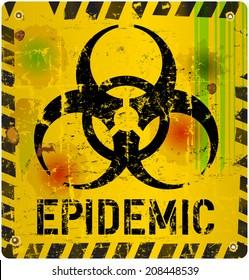 epidemic, virus alert sign, vector illustration