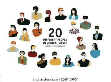 Epidemic virus people medical masks different people isolated portrate