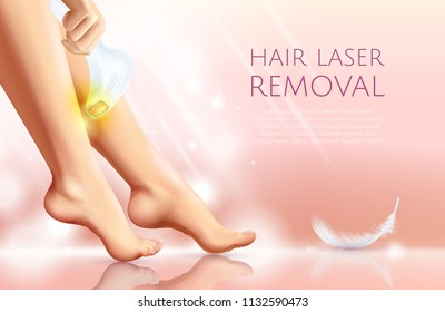 Epilation procedure realistic poster with feminine legs and laser epilator for hair removal in work vector illustration