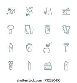 Epilation vector icons set