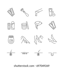 Epilation web icon vector set for your design