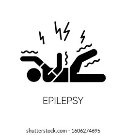 Epilepsy glyph icon. Convulsive seizure. Shaking and tremor. Movement trouble. Epileptic stroke. Abnormal activity. Mental disorder. Silhouette symbol. Negative space. Vector isolated illustration