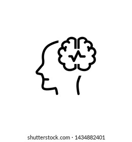Epilepsy line icon. Human head, brain, crack. Neurology concept. Vector illustration can be used for topics like neuroscience, health care, mental disorder