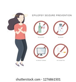 Epilepsy seizure pervention. Illustration of woman having seizure and set of icons how to avvoid epilepsy seizure. Vector illustration.