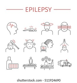 Epilepsy. Symptoms, Treatment. Line icons set. Vector signs for web graphics.
