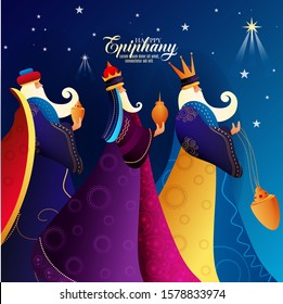 Epiphany Christian festival, with three kings